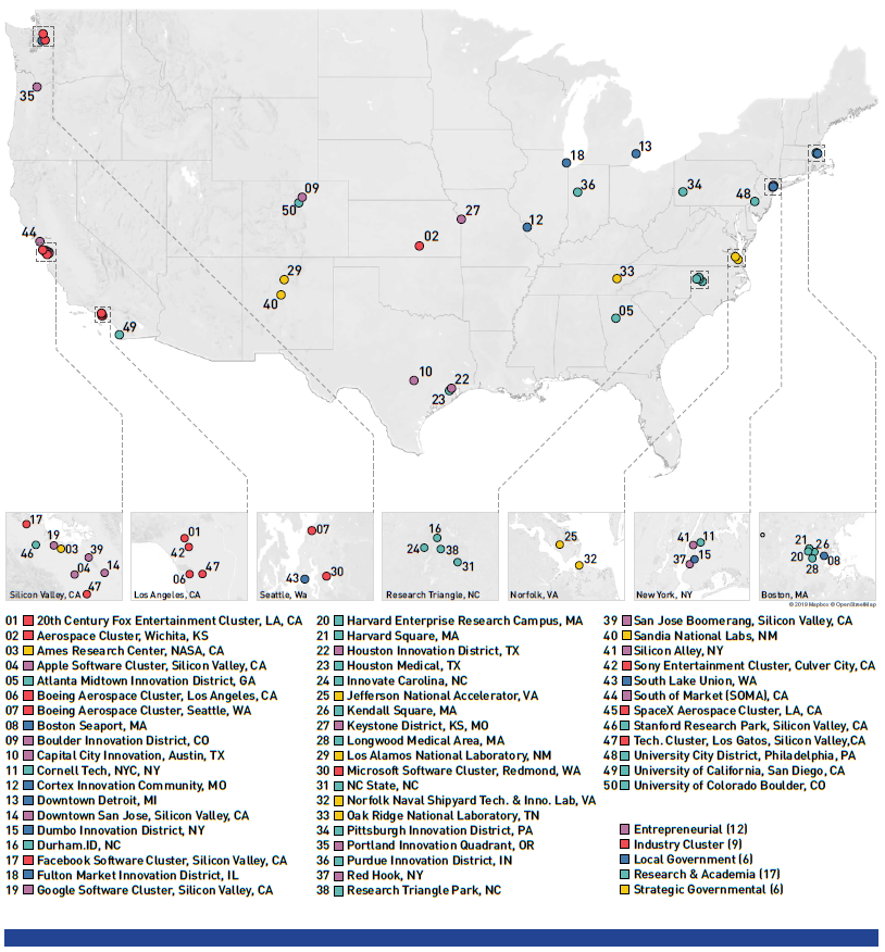 The 50 most performing Innovation Districts in the US