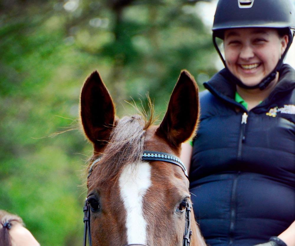 Rider smiling