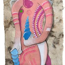 Sirena maestra del cambio 60 x 20 cm.  mixta / papel amate  2019