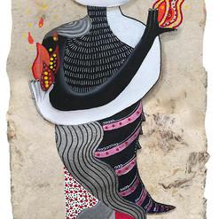Maestra del fuego 40 x 15 cm.  mixta / papel amate  2019 SOLD