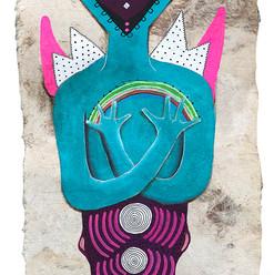 Maestra de los colores 40 x 15 cm.  mixta / papel amate  2019 AVAILABLE