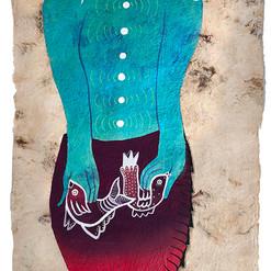 Sirena maestra de la compasión  60 x 20 cm.  mixta / papel amate  2019 AVAILABLE