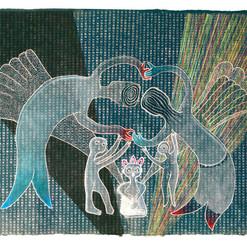 """""""Crecientes"""" mixta / papel artesanal estampado 65 x 85 cm. 2020 AVAILABLE"""