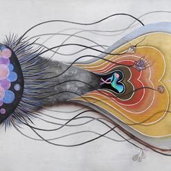 """""""polvo cósmico libre de hormonas"""" acrílico / tela 100 x 210 cm. 2015 SOLD"""