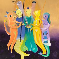 """Somos magia"" acrílico / lino 126 x 100  cm.  2019 AVAILABLE"