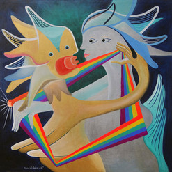 """""""Somos oro, plata y arco iris"""" acrílico / tela 70 x 70  cm.  2017 SOLD"""