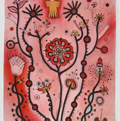"""""""Rojo despierto""""   110 x 70 cm.  acrílico / papel  2013 SOLD"""