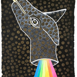 """""""Desdoblamiento"""" 50 x 38 cm. acrílico / papel artesanal estampado 2019 SOLD"""