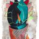 Maestro del fluir 40 x 15 cm.  mixta / papel amate  2017 SOLD