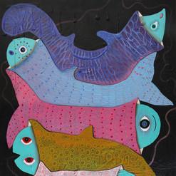 """""""Familia en paz"""" acrílico / tela 145 x 110 cm. 2014 AVAILABLE"""