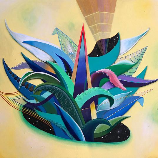 """""""Agave de luz"""" 140 x 160 cm. acrílico / lino 2018"""