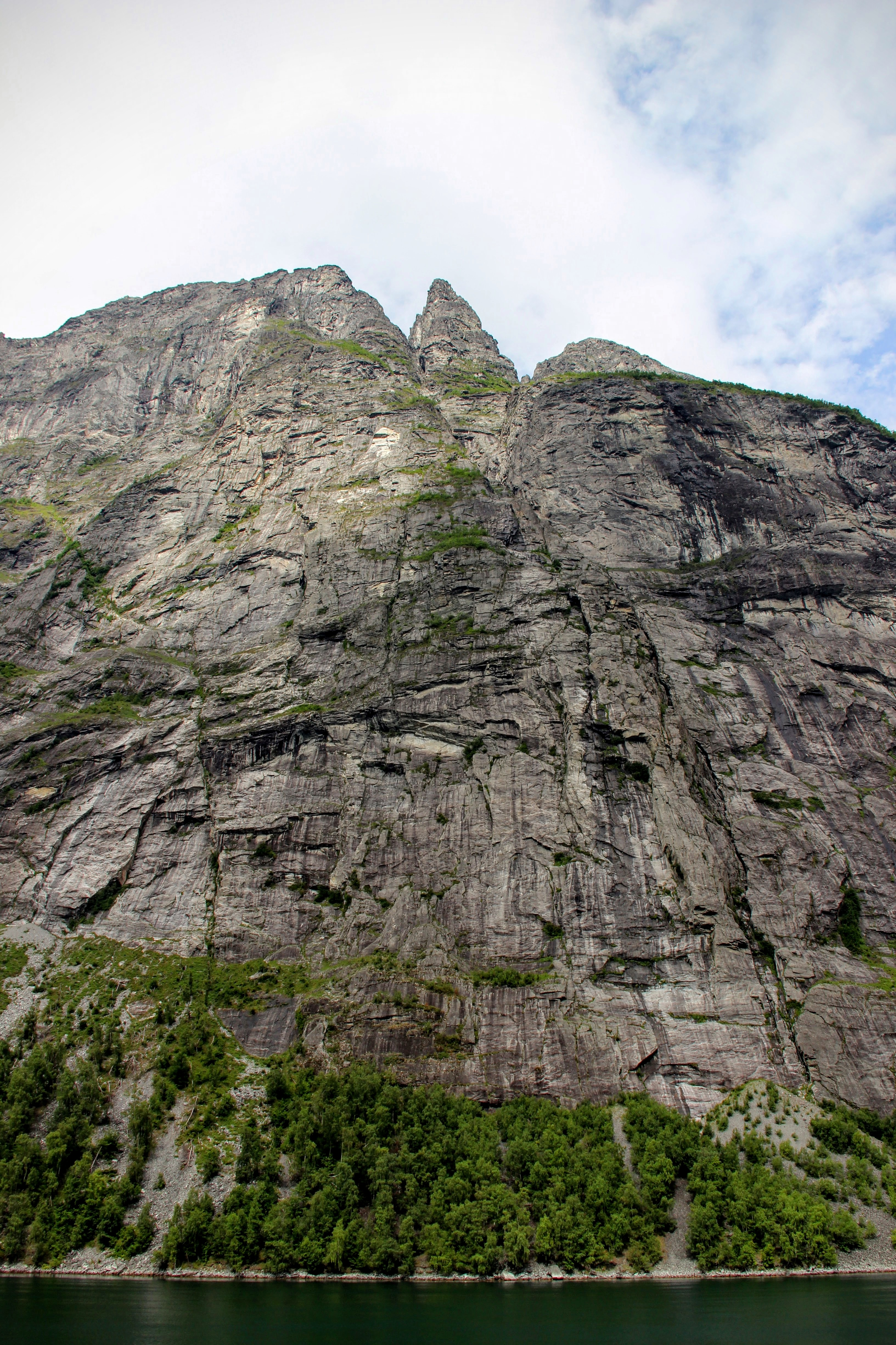 Les falaises plongent dans le fjord.