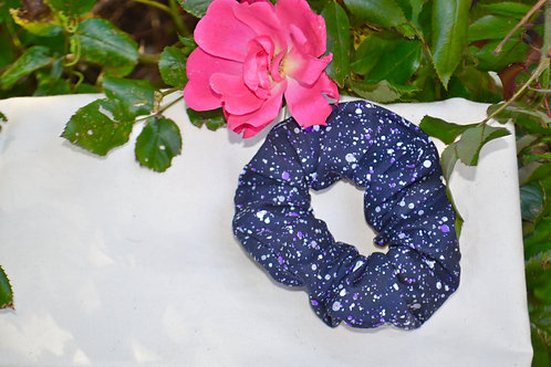 Multi-coloured Dots on a Black Background Scrunchie