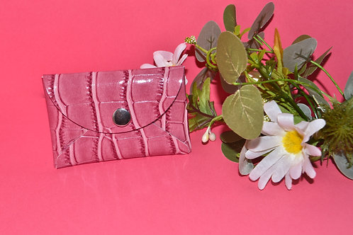 Pink Faux Leather Card Wallet