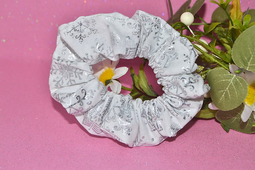 White with Silver Snowflake Scrunchie