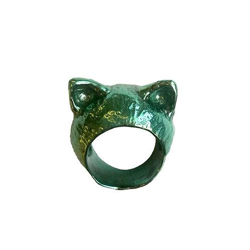 "ÁUREA PRAGA | Anel ""The Green Kitten"""