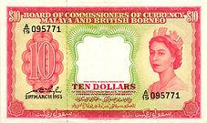 FC Malaya and British Borneo $10 Pick 3a
