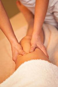close up of  a leg massage, therapist do
