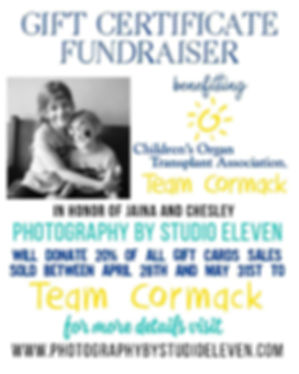 TEAM CORMACK FUNDRAISING ORGAN TRANSPLANT CHILDREN TEAM CORMACK CHESLEY JAINA