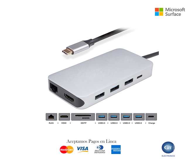 Thunderbolt 3 Dock USB-C HDMI Ethernet 4 Ports HUB TF SD Multiport Adapter