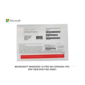 Microsoft Windows 10 Pro 64-bits - 1 Licencia - OEM - DVD-ROM  Español