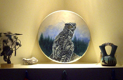 great horned owl, art, fine art, commission art, drum painting, canadian artist, artist, mountain life, Canada