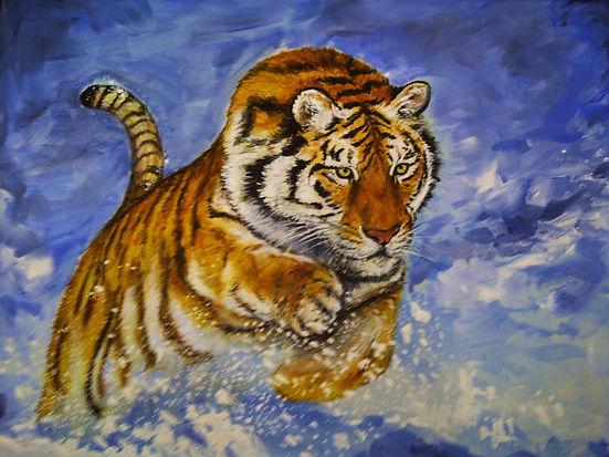 Michelle Spragg original art painting, Pursuit, tiger chasing prey through snow