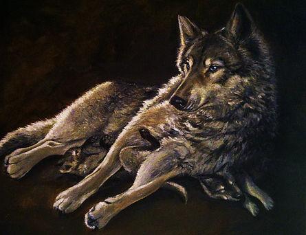 Michelle Spragg original art, Mother's Love, wolf and pups
