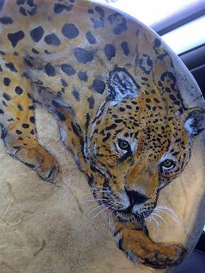 jaguar, drum art,drum painting, axcrylic art, fine art, Canadian artist, commission art
