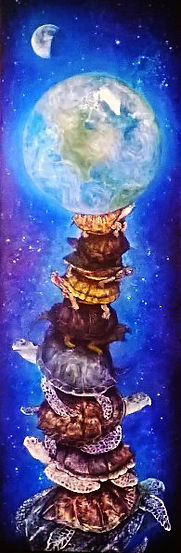 commission art, turtles all the way own, space, nebula, earth, moon, the earth rest atop the back of a giant turtle, perched upon another and another below that