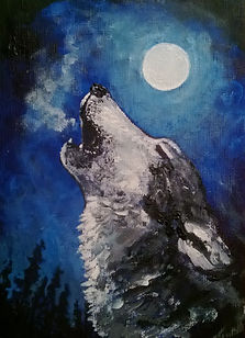 Michelle Spragg art painting, wolf howling at the moon, Call of the Moon