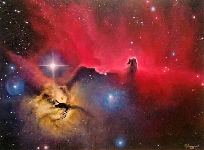 Michelle Spragg Nebula Art Acrylic Night Painting of the Horse Head Nebula, stars, awesome, stunning, determination, skill, mastery, confidence.  You can accomplish anything.  Believe in yourself.  Remember who you are. You are loved, you are love.