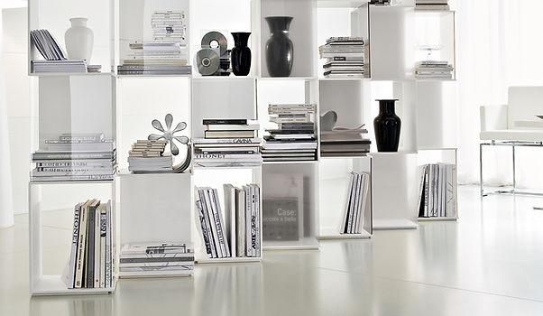 libreria,libreria moderna,libreria laccata bianca, libreria a cubi,