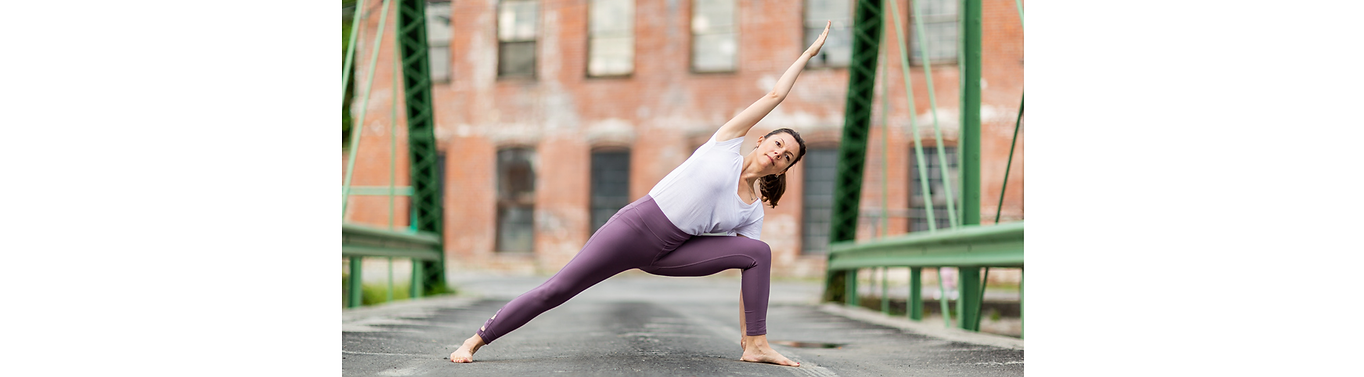 Cristina Roy in yoga pose Extended Side Angle