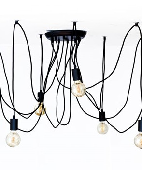 Colgante vintage negro con 10 sockets de TECNOLITE (BASE E27COL-VIN-E27-10)