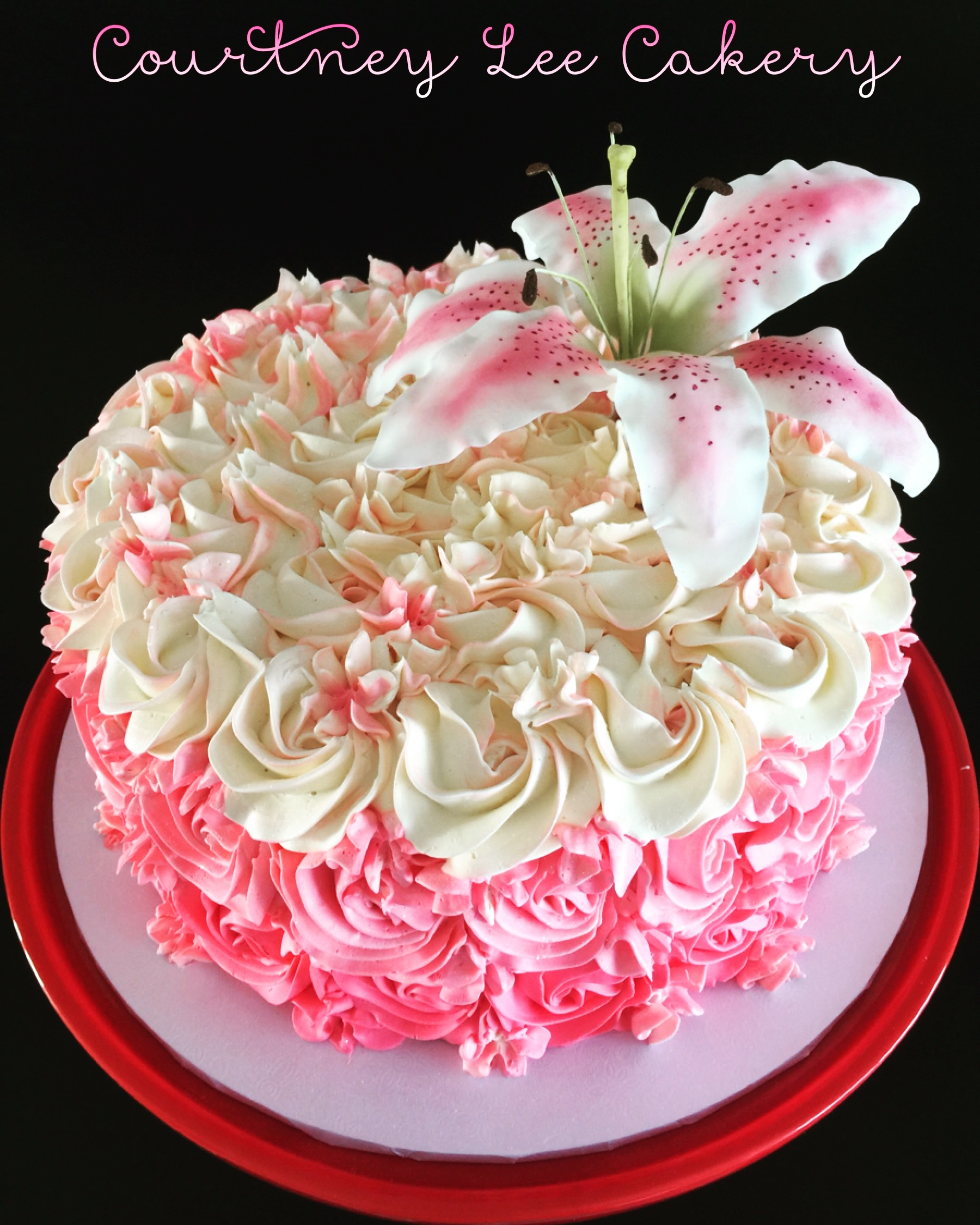 Rosette Cake with Lily
