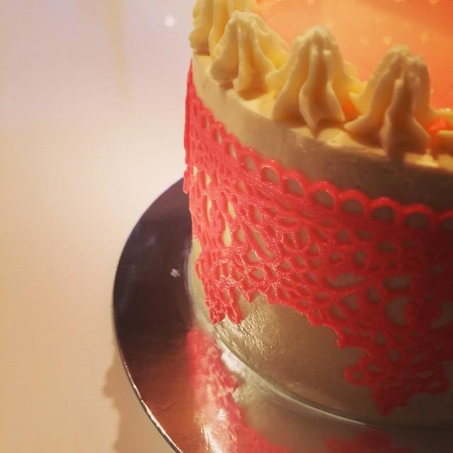 Rose & white chocolate mud cake with dark chocolate ganache in the m