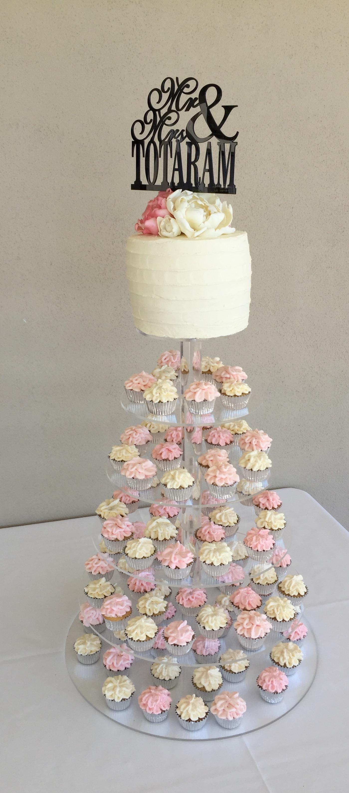Wedding Cake & Mini Cupcakes