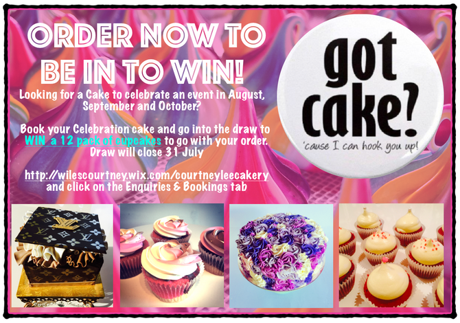 We are Extending to the end of the Month! BE IN TO WIN!! Book your Celebration Cake Now!!