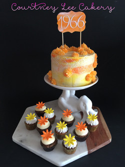 Sixies Cake and Mini Cupcakes