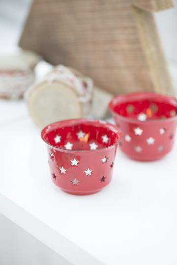 Teelichthalter Stern, rot, Emaille, Kerzenhalter