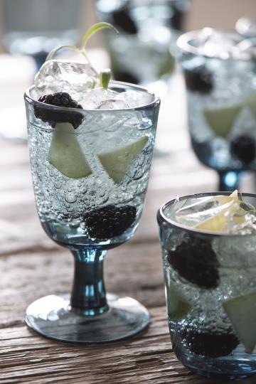 Weissweinglas, Kelchglas, Glas, blau