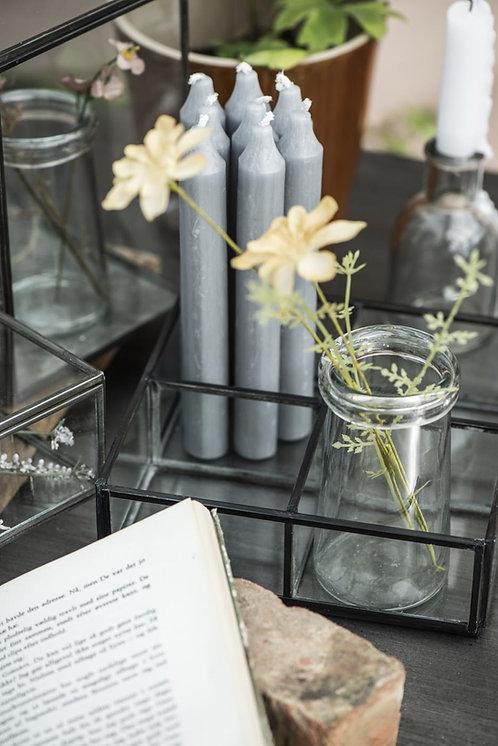 10er Set Kerzen grau, 18cm, rustikale Kerze