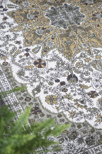 handgewebter Teppich grün-braun-gold