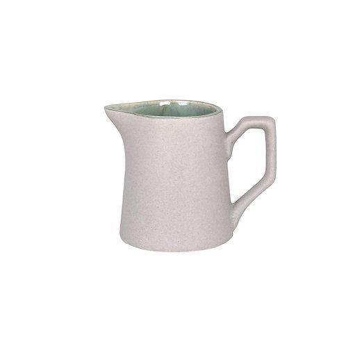 Milchkanne, Kännchen Einar aus Steingut, aussen beige, innen grün
