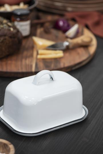 Butterdose aus Emaille, weiss, 2teilig
