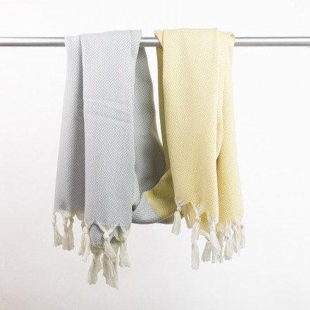 Decke / Hamamtuch Manolya - kreidegelb/lichtgrau