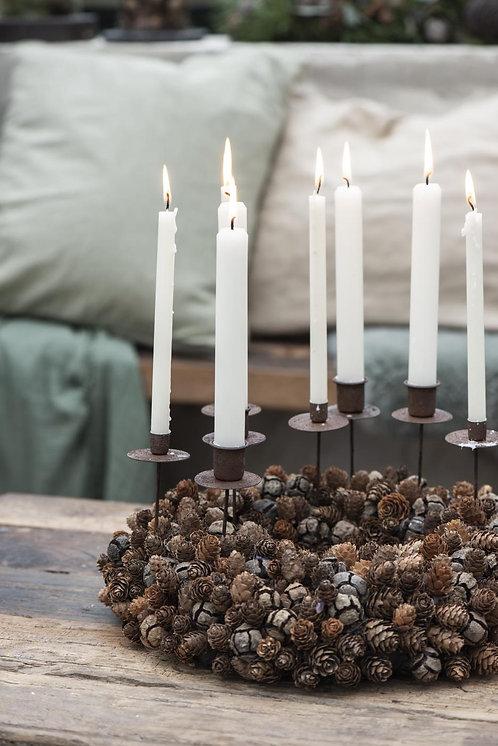 10er Set Kerzen, 11cm, rustikale Kerze, weiss