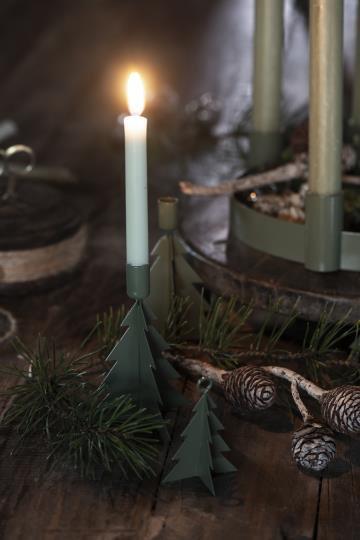 10er Set Kerzen, dünn, 20cm lang, hell grün
