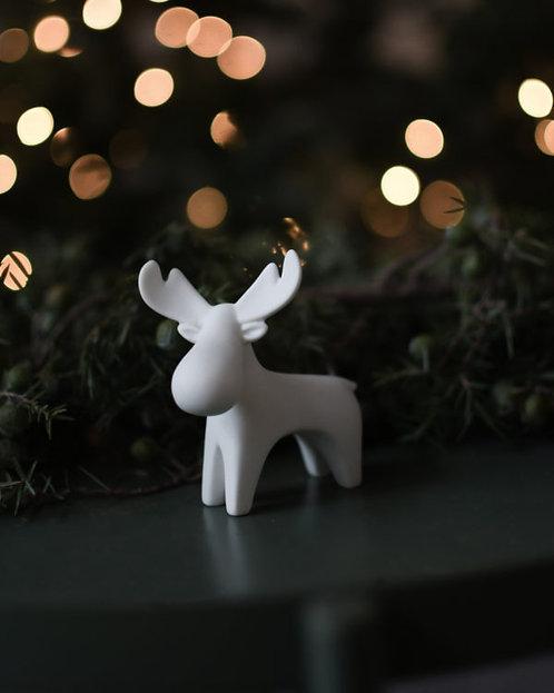 Rentier Ivan, weiß, Deko Figur, Weihnachtsfigur